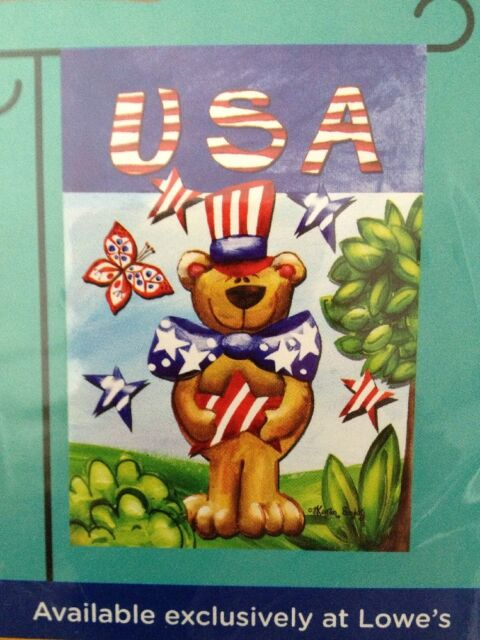 """Small Garden Flag /""""USA Bear/"""" 12.5/"""" X 18/"""" Inches New in the Package"""
