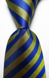 New-Classic-Striped-Blue-Yellow-JACQUARD-WOVEN-100-Silk-Men-039-s-Tie-Necktie