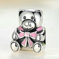 Beautiful 925 Silver Baby Bear With A Pink Enamel Bow Charm