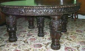 Rare-EDWARD-amp-ROBERTS-Oak-Elizabethan-Revival-Table-5FT-TO-14-FEET-LONG-SIGNED