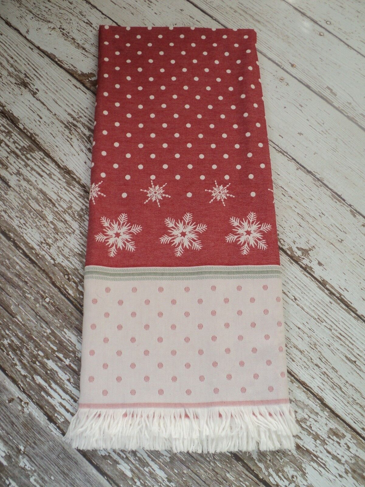 MUNDU Luxury MADE IN PORTUGAL Throw Blanket Cotton Snowflakes Christmas Red