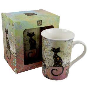 Tasse-en-Porcelaine-Fine-Avec-a-Motifs-Design-Chat-Par-Bug-Art-Emballe