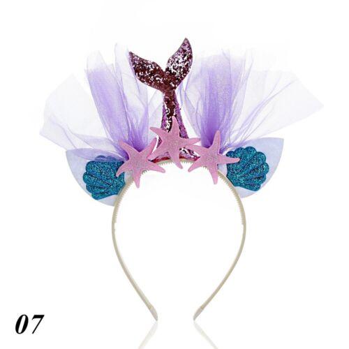 Birthday Party Glitter Hair Hoop Lace Starfish Hairband Mermaid Tail Headband