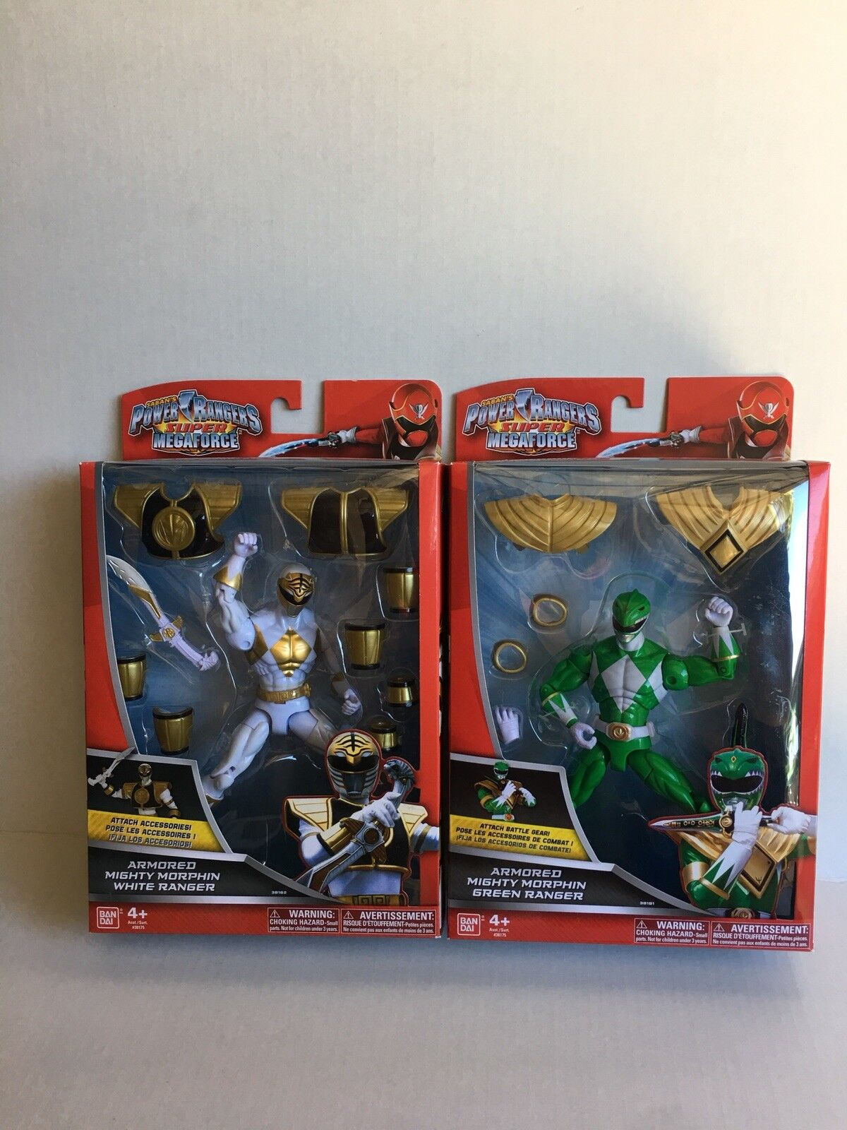 Lote Power Rangers súper Megaforce blindado Mighty Morphin Ranger verde, blancoo. nuevo