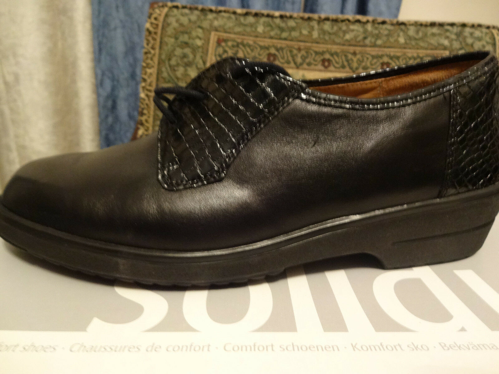 SOLIDUS, Betti, BLACK, LACE UP, OXFORD, COMFORT, SHOES, US 7 Medium