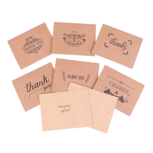 18pcs kraft paper thank you greeting cards envelopes seal stickers party deco LY