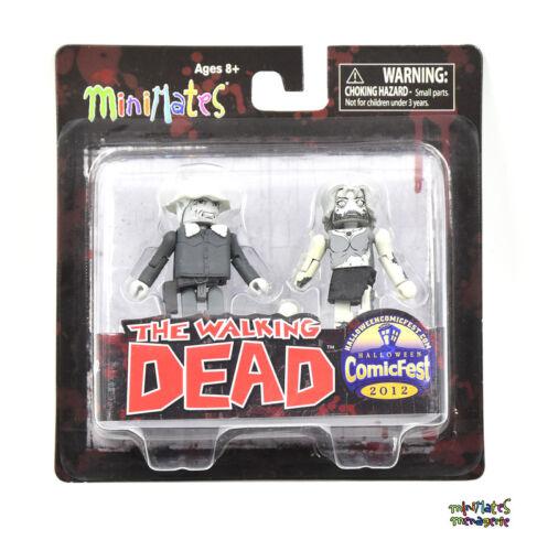 Walking Dead Minimates Halloween Comic Fest B/&W Winter Coat Dale /& Female Zombie