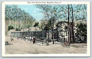 Memphis-Tennessee-Ladies-at-Overton-Park-Zoo-Bear-Pits-Polar-Brown-1920s-PC