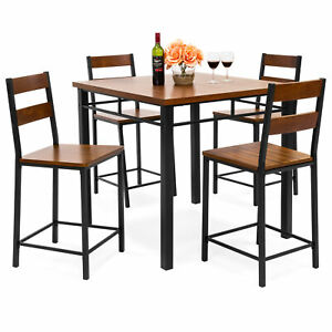 BCP-5-Piece-Wood-Finish-Counter-Height-Table-Dining-Set-w-4-Chairs-Metal-Frame