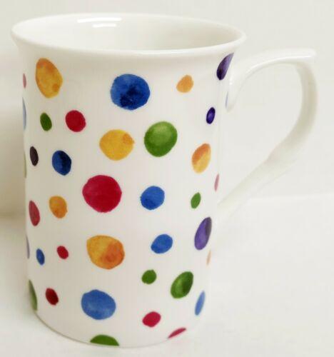 Polka Dot Painted Effect Mugs Set Of 2 Bone China Multi Colour Tea Coffee Cups