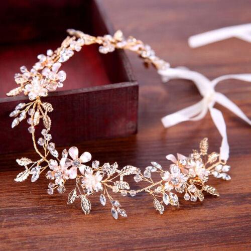 Princess Bride Handmade Metal Leaves Flower Ribbon Headpiece Hair Tiara Headband