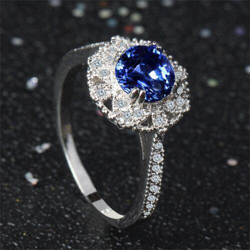 Gorgeous Women White Gold Blue Sapphire Gemstone Flower Ring Engagement Jewelry