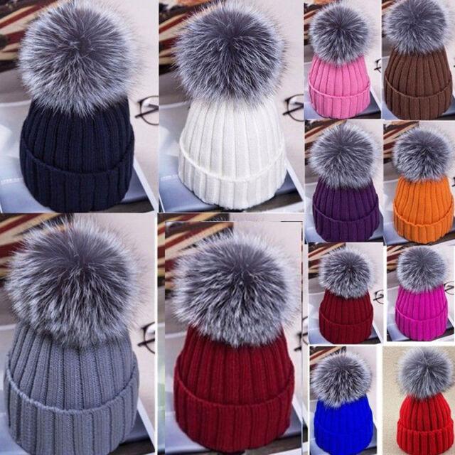 e5372ef4d325b Large Ball Womens Hat Winter Fox 15cm Fur Pom Pom Knit Beanie Ski Cap Bobble