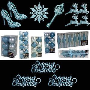Blu-Ghiaccio-Paillettes-Tinta-unita-Decorazioni-Albero-Di-Natale-Bagattelle