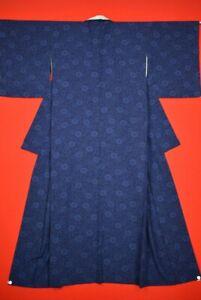 Vintage-Japanese-Silk-Antique-BORO-KIMONO-Kusakizome-Dyde-Textile-TS65-910