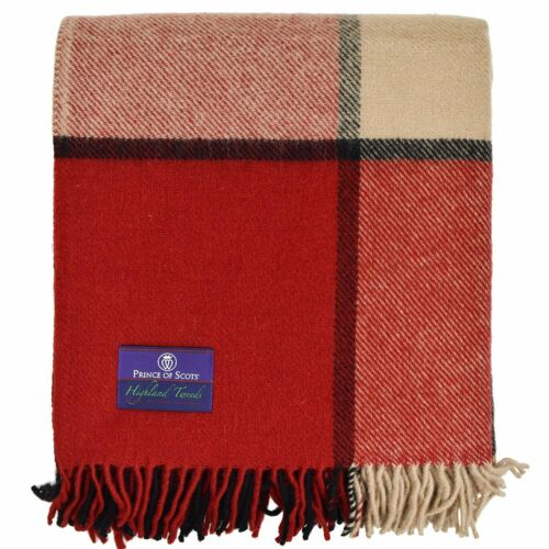 Prince of Scots Highland Tweed Large Plaid Pure New Wool Throw ~ Brick ~