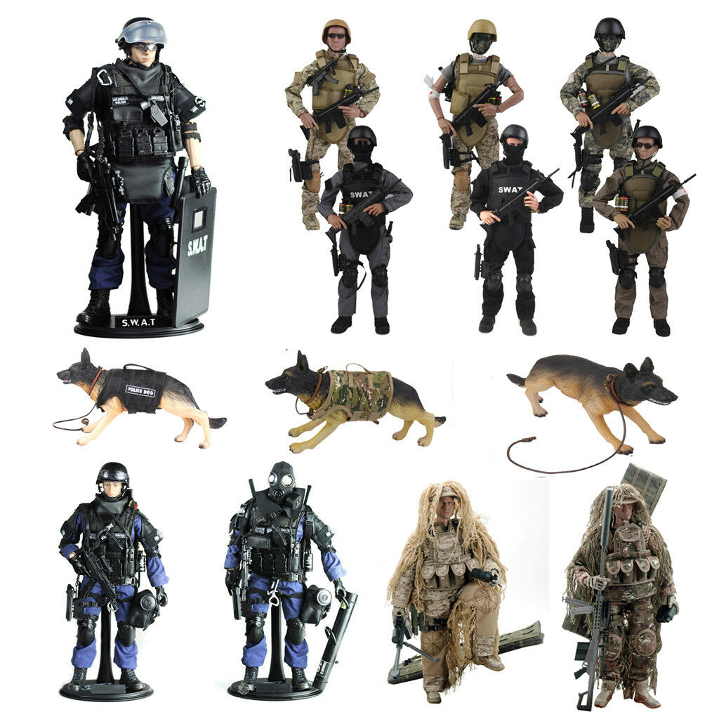 12  Military Special Forces SWAT Action Figure 1 6 Scale Police Dogs Wargame
