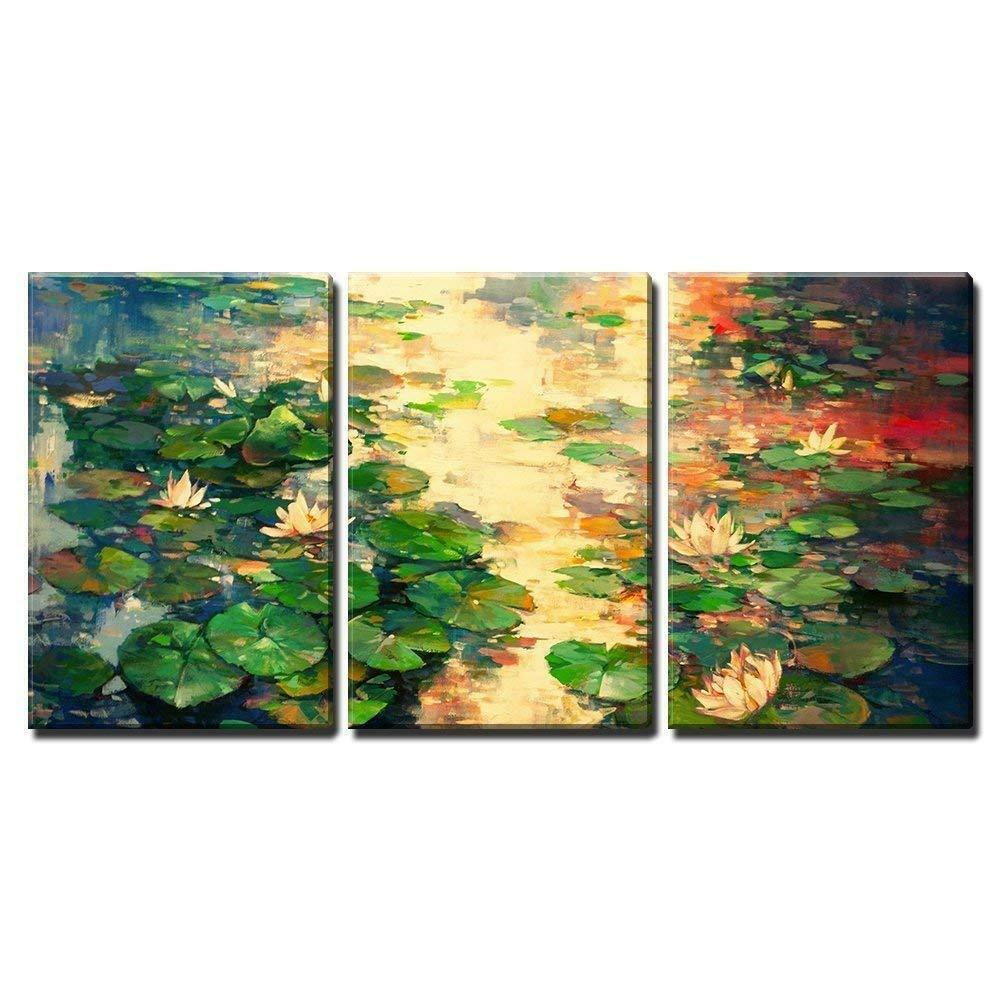 Wall26 - the Oil Painting of Lotus Pool - CVS - 16 x24 x3 Panels