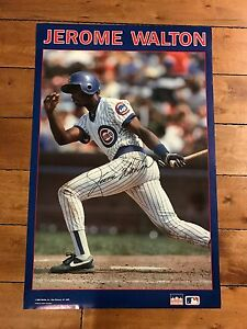 "1989 Poster Signed by Jerome Walton CHICAGO CUBS ROY Starline 22 x 34"" AUTO"