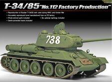 Academy 1/35 Plastic Model Kit T-34/85 Tank No.122 Factory Production 132NIB