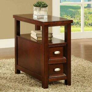 Details About Chairside End Table Sofa Side Tables Small Wood Bedroom Nightstand Narrow Slim