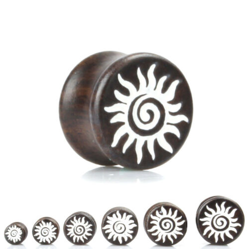 DARK WOOD WHITE SUN Ear Plugs Stretchers Jewellery Saddle Wooden Timber PL117