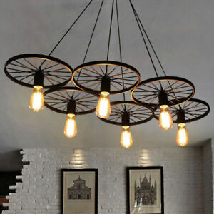 Details About Chandelier Wagon Wheel Farmhouse Lighting Rustic Style Cabin Kitchen 6 Lights