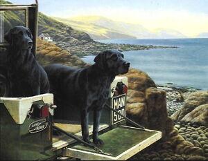 Nigel-Hemming-MANS-BEST-FRIEND-Black-Labradors-Landrovers-Isle-Of-Man-Bay-Art
