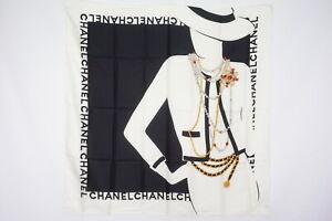 CHANEL-87cm-Large-Format-Scarf-100-Silk-Coco-Chanel-Silhouette-Black-3153k