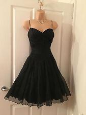 Karen Millen Black Organza & Silk Evening Dress 10