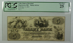 Jan-31-1855-5-Valley-Bank-of-Maryland-Hagerstown-MD-PCGS-VF-25-Haxby-245-G6