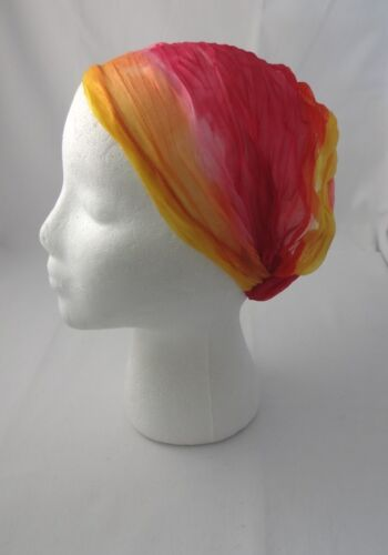 Headband Hot Pink Yellow Chiffon Stretchy Kerchief Tapered Elastic Back