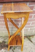 Solid teak twisted shaped leg plant stand lamp table end table