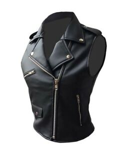in donna stile nera gilet pelle Gilet da con in pelle vera Brando wzv5WEq