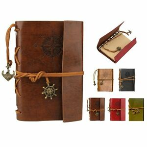 Classic Retro Vintage Leather Pirate Bound Blank Pages Notebook Journal Diary YJ