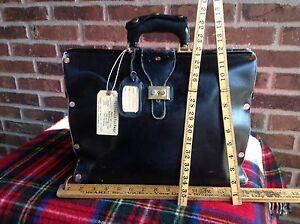 VINTAGE STEAMPUNK BAUX PARIS FRANCE LEATHER GLADSTONE BRIEFCASE BAG R$1498