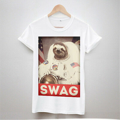 SLOTH SWAG TSHIRT ASTRONAUT HYPE HIPSTER MENS URBAN FASHION OUTFITTERS FUN DOPE