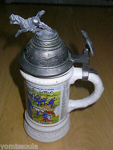German White Ceramic Musical Beer Stein W Metal Lid Ebay