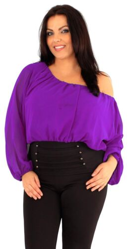 New Ladies Plus Size Corset Hem Long Sleeve Chiffon Blouse Gypsy Top 18-24
