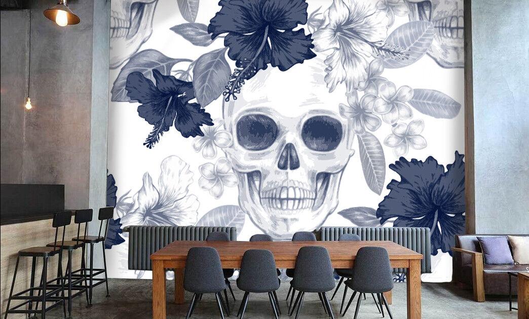 3D Skull Flowers 974 Wall Paper Murals Wall Print Wall Wallpaper Mural AU Summer