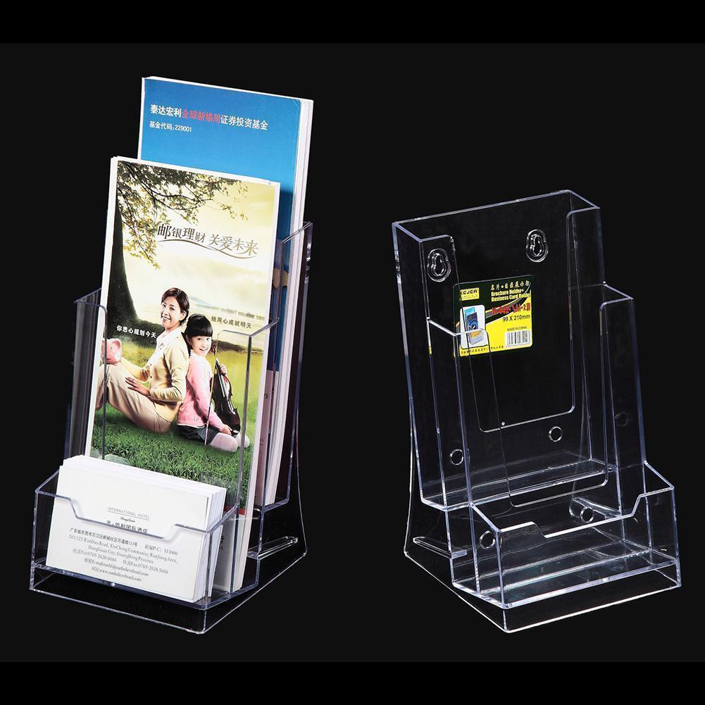 Clear Tri-Fold Brochure Business Card Holder Desk Stand Pamphlet ...