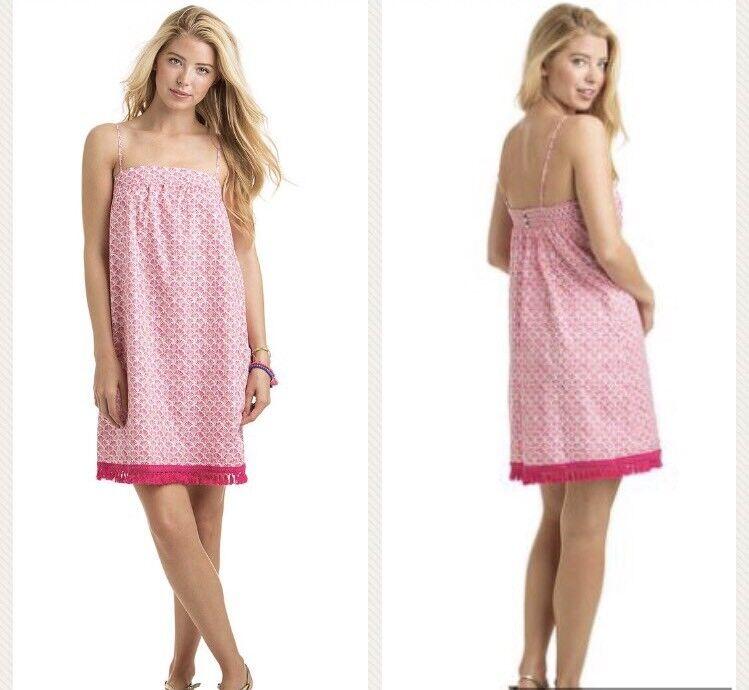 Vineyard Vines NWT Womens Size M Tiny Leaves Swing Beach Dress Pink Multi  118