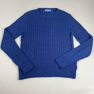 J-McLaughlin-Women-039-s-Size-Medium-Pullover-Sweater-Blue-Cable-Knit-Stretch