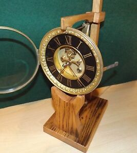 Clock movement test stand based on French design handmade all reclaimed hardwood