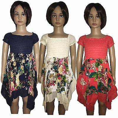 New Girls Dress Summer Party Floral Tunic Short Sleeved Top 3-12y Cream Blue #96