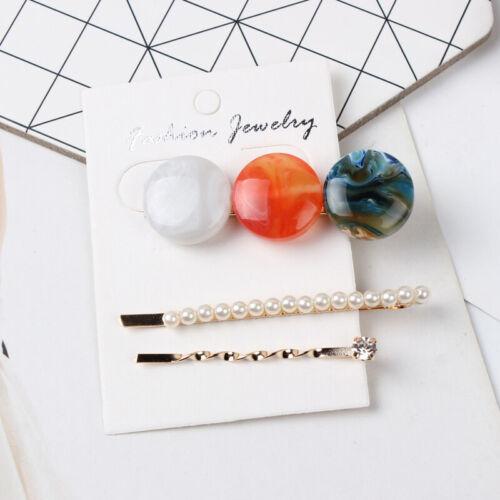 3×//Set Pearl Acrylic Hair Clips Snap Barrette Women Fashion Hairpin Accessories