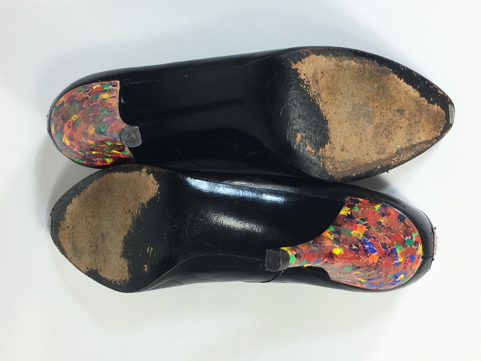 Vintage 607ms Chales Jourdan Jourdan Jourdan Cuero Negro Zapatillas con   Ooak Paleta de Pintura 5e653a