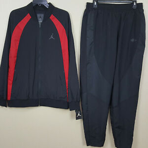 NIKE-AIR-JORDAN-WINGS-WOVEN-BASKETBALL-SUIT-JACKET-PANTS-BLACK-RED-SZ-LARGE
