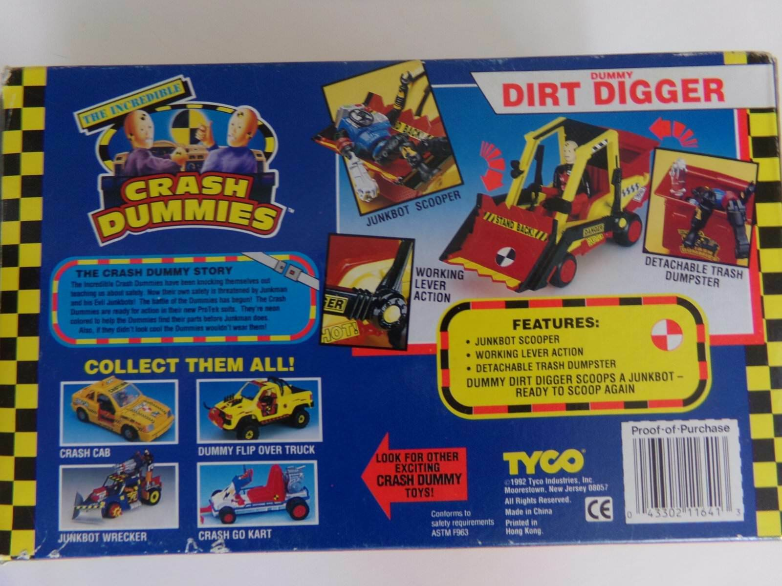 NIB 1992 TYCO TYCO TYCO Incredible Crash Test Dummies DUMMY DIRT DIGGER 100% Complete NOS 588776