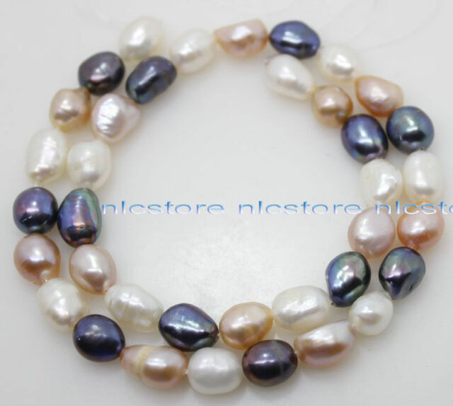 """Real multi-color white pink black baroque  pearl loose beads gem stone 14"""" long"""